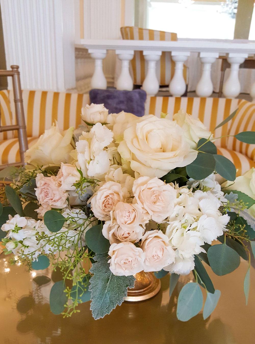 Soft Blush Cream Centerpiece - roses, hydrangea, majolkia rose sprays