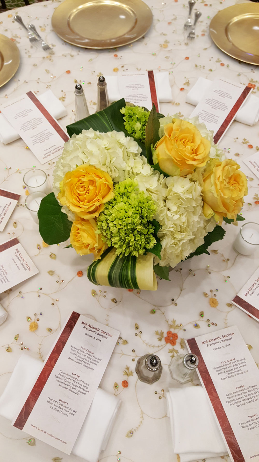 Gold Rose Hydrangea Cube - accented with foliage ribbons.
