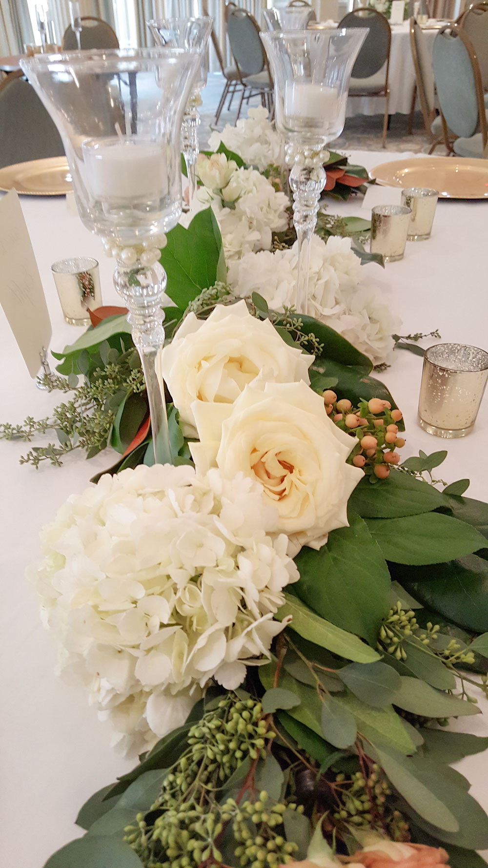 Hydrangea, Rose Garland Centerpiece - soft foliage with lush florals