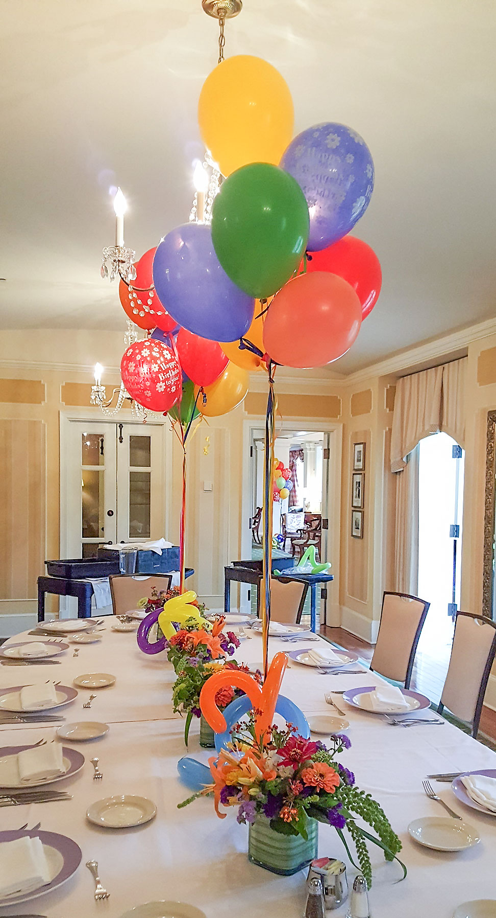 Birthday Fun with Balloon and Local Summer Flowers