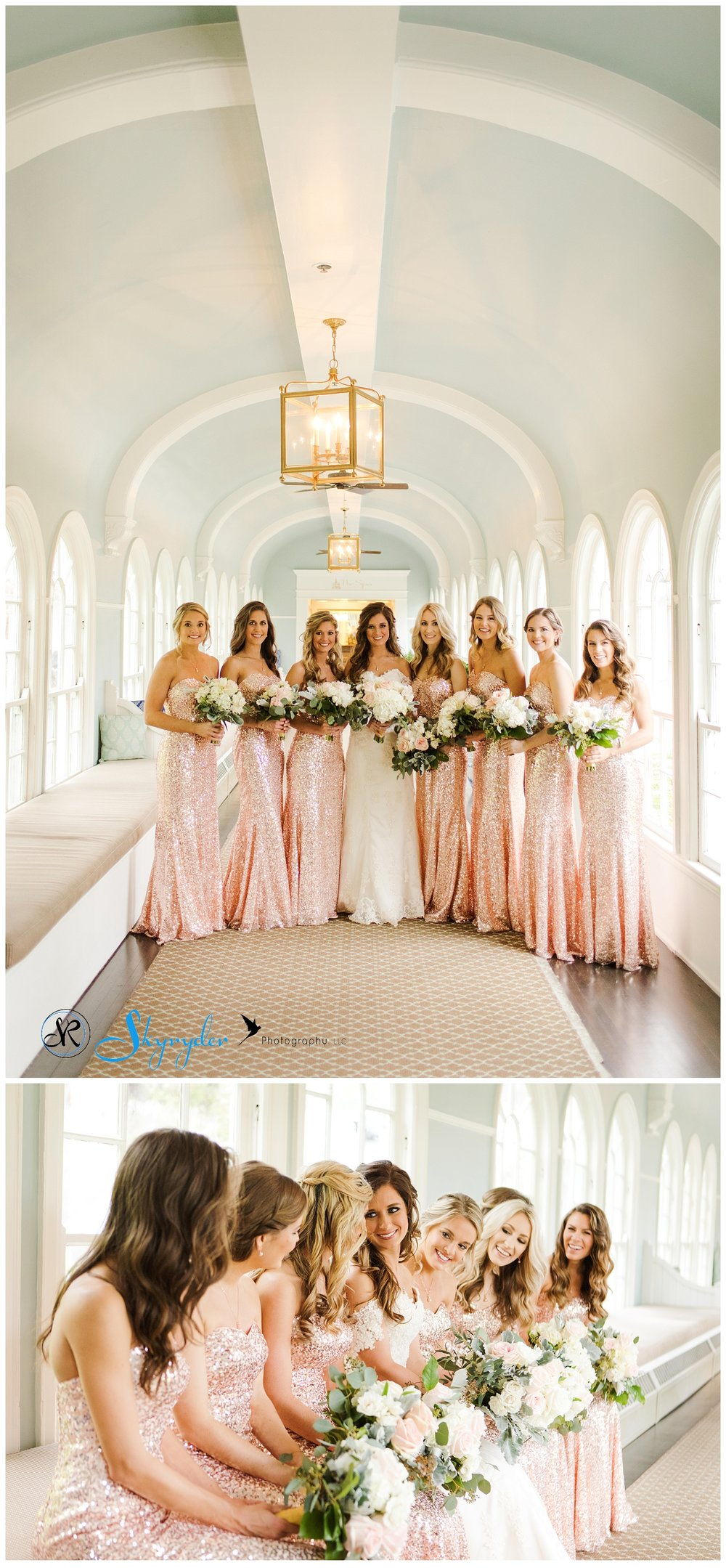 Amazing rose blush sequined bridesmaid dresses.