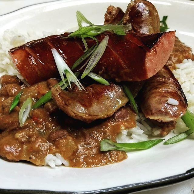 Restaurant week! Red beans & rice, smoked sausage, wild boar bratwurst.  #hotsuppa #portlandmaine #restaurantweek #redbeansandrice #wildboarsausage