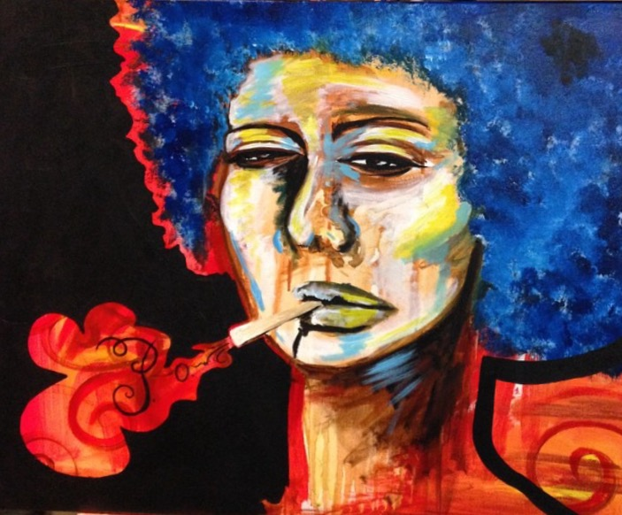 """""""POW""""    Inspired by Alicia Key's poem """"Prisoner of Words Unsaid""""   One evening, I was doing a live painting at a bar in Houston and I painted this woman smoking with the word POW escaping the cigarette. It was my way of capturing the way we tend to use certain things like cigarettes, alcohol, and food to pacify us and keep ourselves quiet. A man I'd never met approached me and told me that the painting reminded him of the poem """"Prisoner of Words Unsaid"""" by Alicia Keys and that I should read it. I was amazed by how much this poem put into words exactly what I intended to portray."""