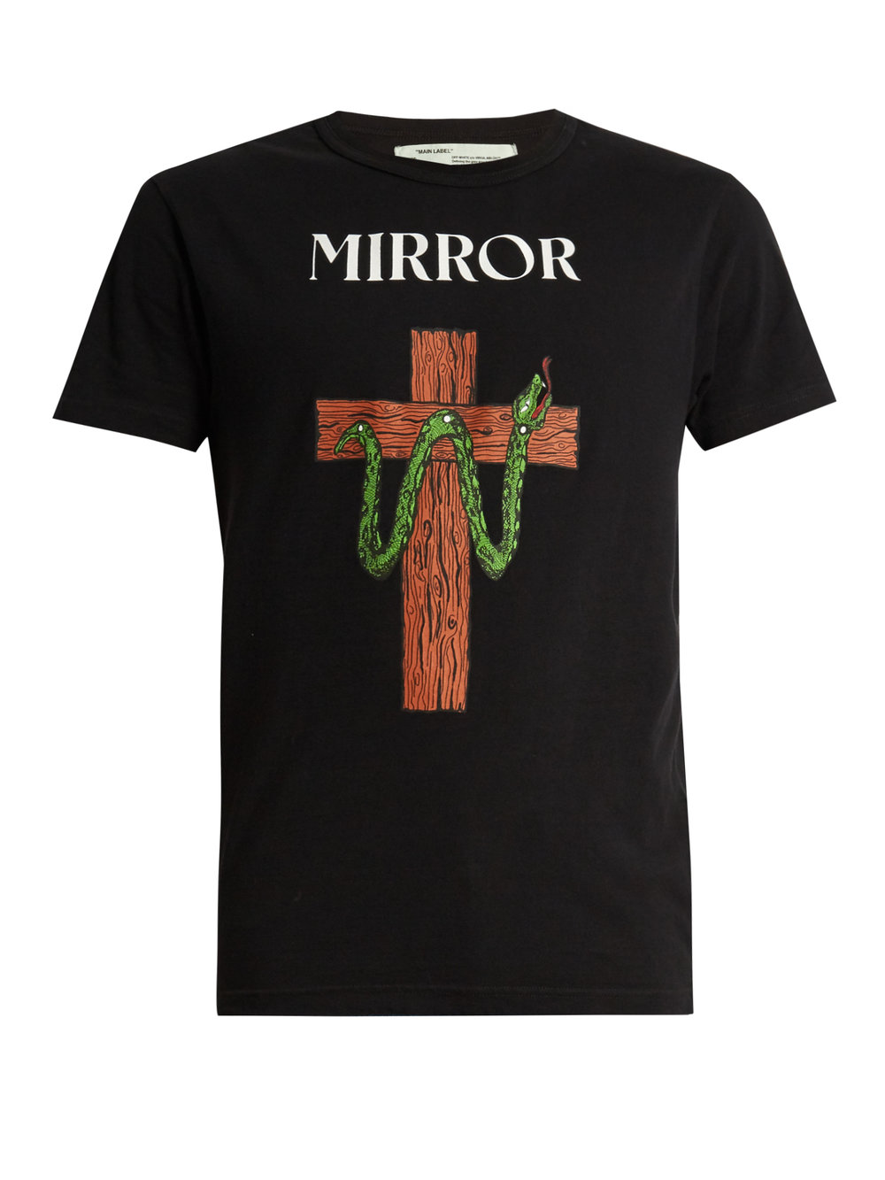 OFF-WHITE  Snake and Mirror-print cotton-jersey T-shirt £193  .jpg
