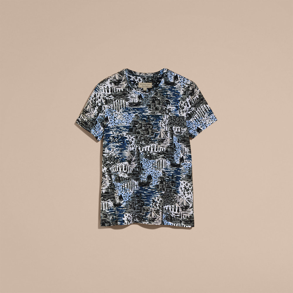 BRITISH SEASIDE PRINT COTTON T-SHIRT   $225.jpg