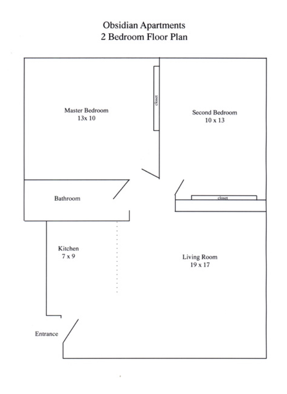 The Obsidian Floor Plan for 2 Bedrooms.