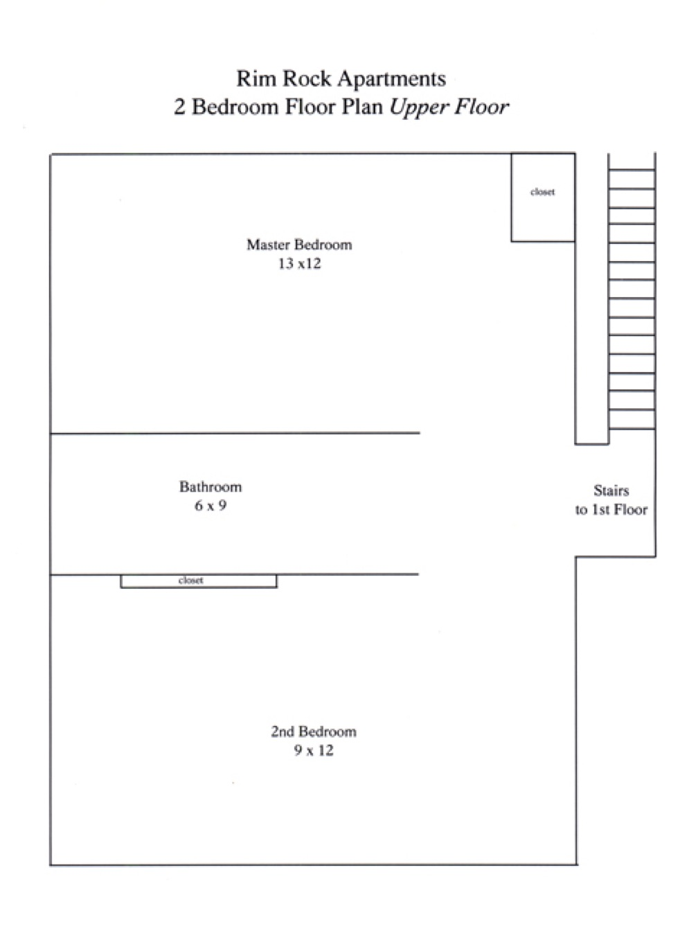 Two Bedroom One and a Half Floor Plan - Second Floor