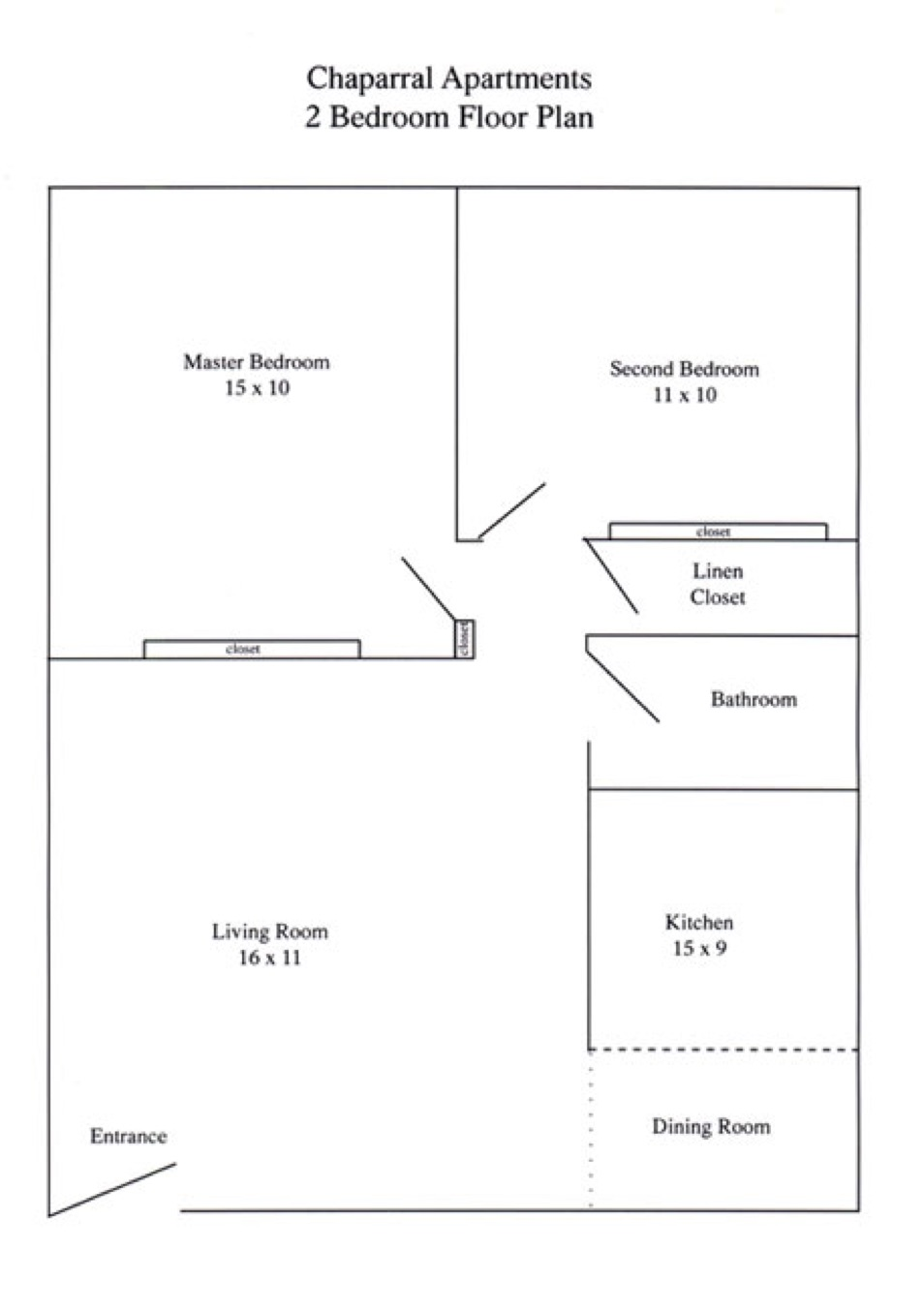 Two Bedroom One Bath Floor Plan