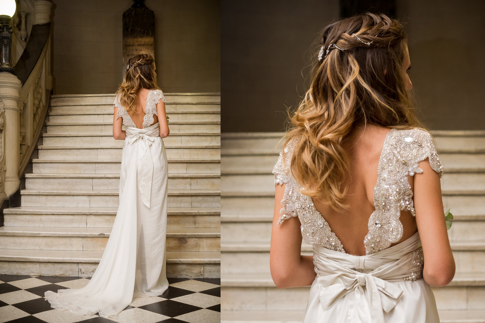 "Back view of ""Annabella"", the dress by Anna Campbell that Carmen chose for the nuptials."