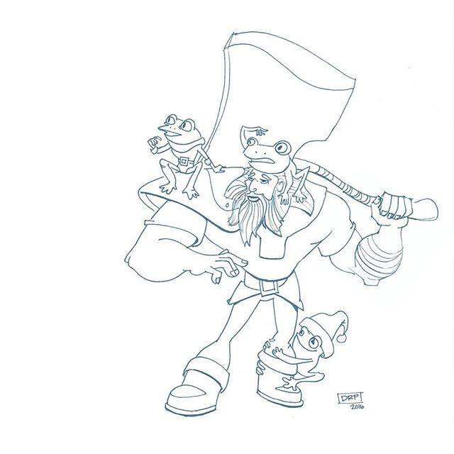 """Alright you three, pick a tree."" . . I'll add grayscale values tomorrow . #drpicar #dwarf #warrior #axe #frog #christmastime #drawing #sketch #doodle #happyholidays2016 #fantasyart #visualstorytelling #inksketch #inkdrawing #dailysketch #dailydoodle #dailydrawing #instaart #artistsoninstagram #artwork #keepdrawing"