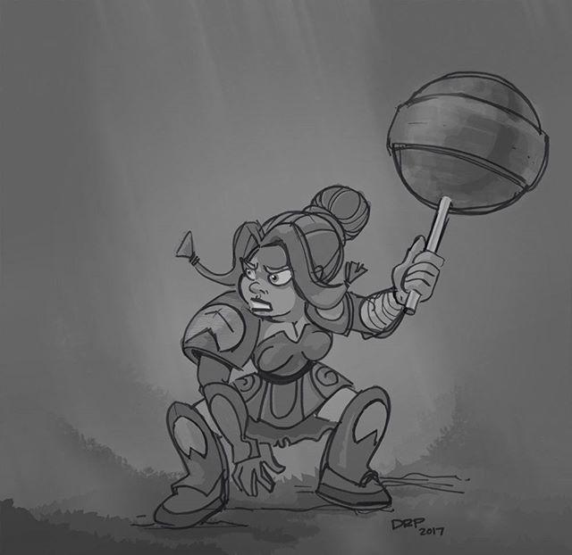'Dwarven lollipop' Revisited the previous drawing. . . . #drpicar #dwarf #warrior #drawing #dailydoodle  #tombow #brushpen #wacom #cintiq #photoshopart #digitalart #dailysketch #characterdesign #animation #propdesign #instaart #artistoninstagram #artwork