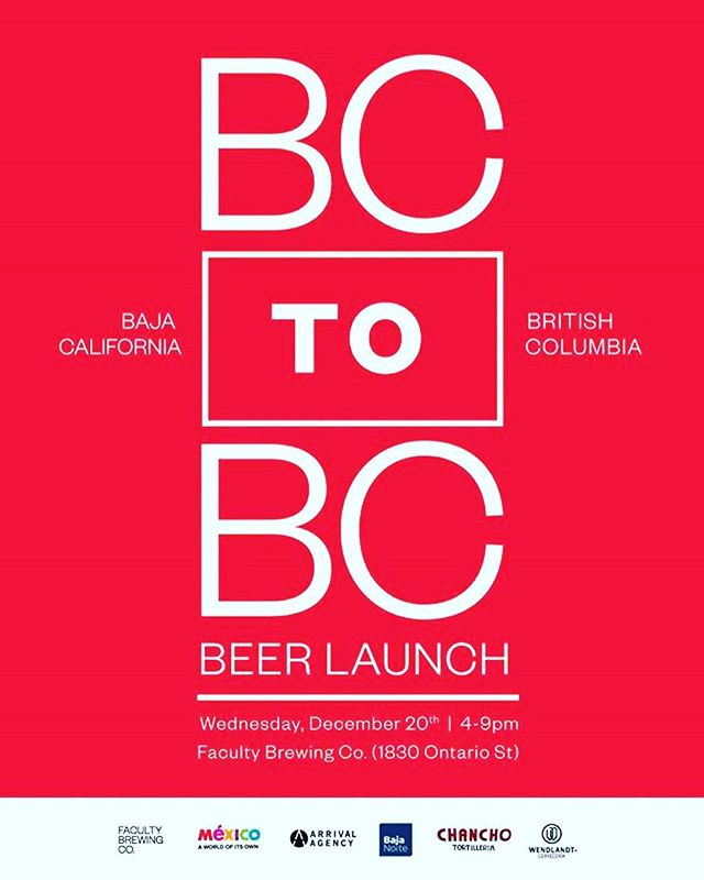 We're giving away beer and tacos (from @chanchotortilleria) on wednesday. the beer's a collab between one of the best breweries in the state of baja california (@cerveceriaw) and one of the best breweries in the province of british columbia (@facultybrewing). 4-9pm at faculty. come through! . . courtesy of @cerveceriaw, @descubrebc, @visitmexico @facultybrewing, @chanchotortilleria, @arrivalagency, @yvrfoodfest