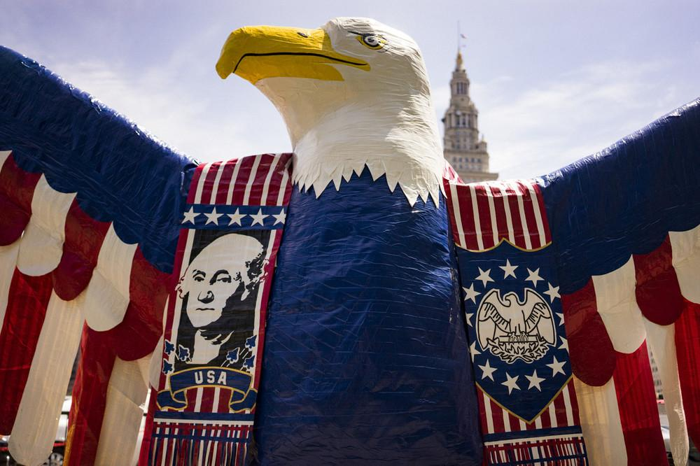"""""""George the Eagle,"""" made from duct tape by artist Jake Brinkmann for a student competition"""