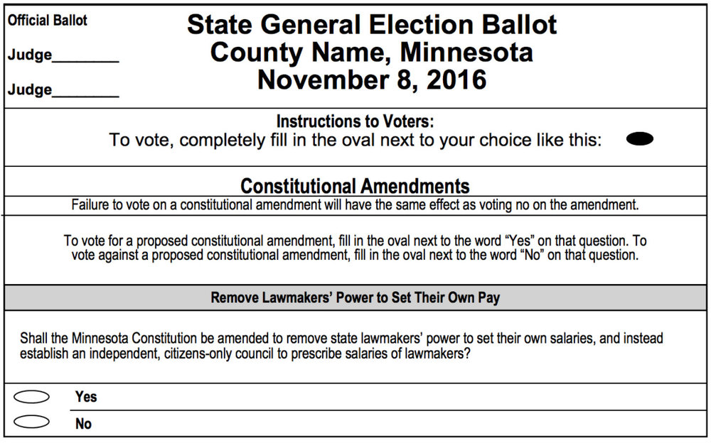 A sample ballot of the constitutional amendment. Image: MN Secretary of State