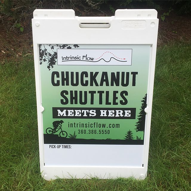 Hot of the press here! We have the new parking lot sign for the Intrinsic Flow Chuckanut Shuttle! You'll notice - in addition to stunning graphics done by David Cole Creative - we also have open space at the bottom for writing in times the shuttle will leave from the Lost Lake/Clayton Beach lot. And when you see this sign by the kiosk in the lot, you'll know that it's a shuttle day. - - Wondering what else will be in that spot? Well, don't be shy, swipe left to find out! 😁👍 - - Feel free to repost! Our monthly repost drawing will be held this weekend. I know I said that about last weekend, but my day to day is crazy and this time I really mean it! 🤪 - - #intrinsicflow #chuckanutshuttles #chuckanut #shuttle #guiding #mtb #mountainbike #bellingham #wa #pnw