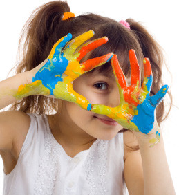 girl sensory paint hands
