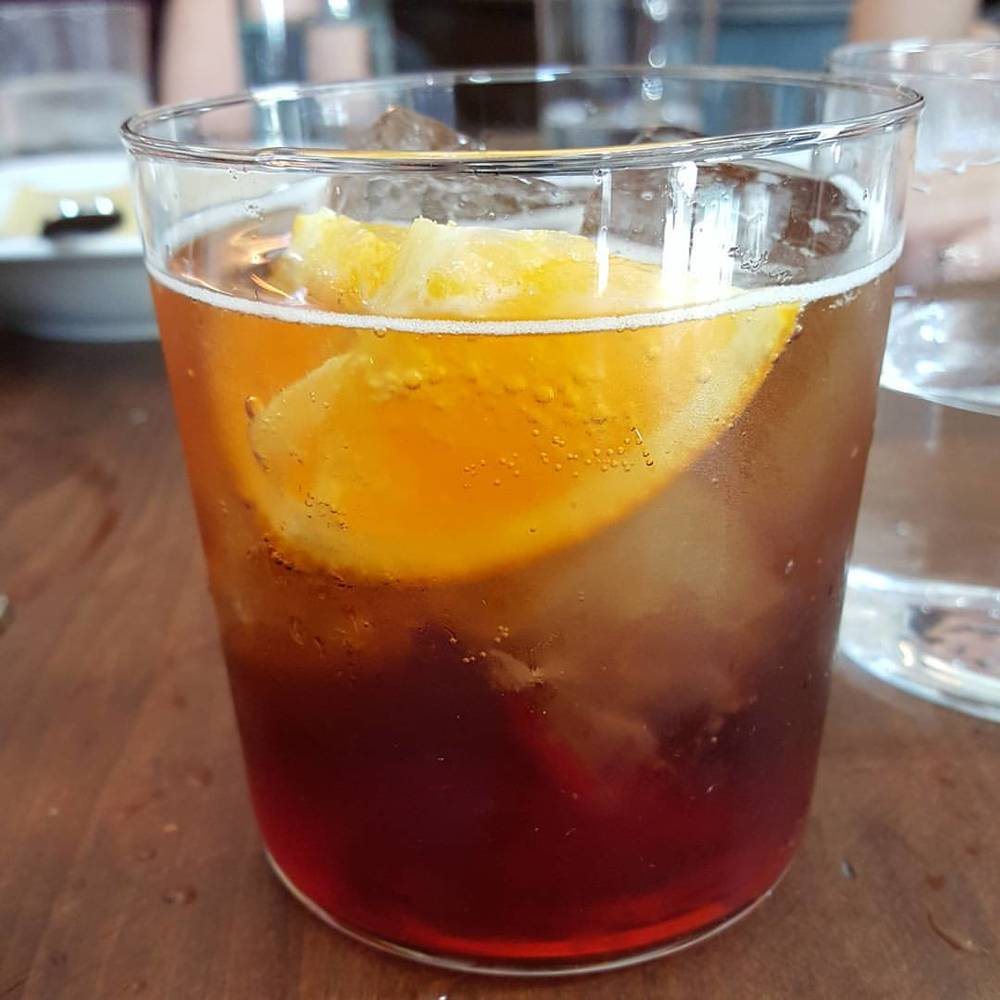 Cynar Spritz at @viacarota! #eatplusdrink #latelunch  (at Via Carota)
