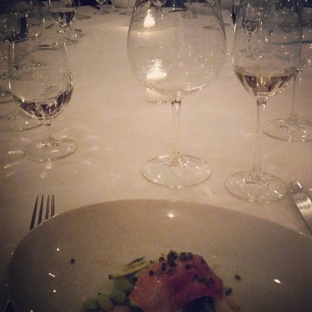 The beginning of last night's dinner at Redd….and the only picture I took! (at Redd)