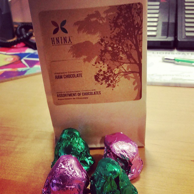 Checking out a little @hninagourmet chocolate with a little after lunch coffee.  Yum!   (at At work)