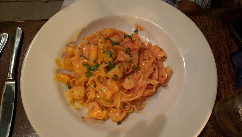 One of the dinner options is this house made pasta with a spicy shrimp sauce.