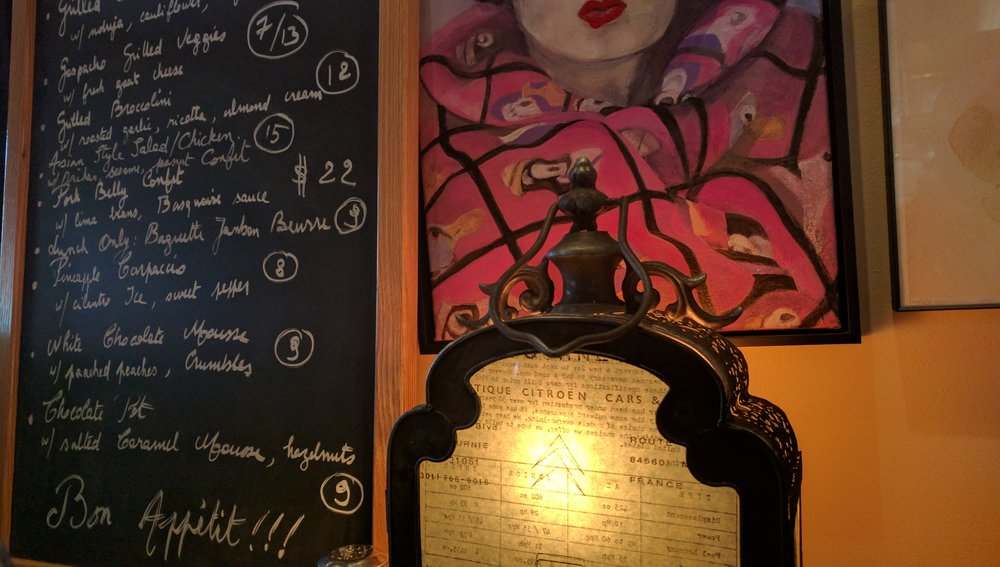 Daily specials are detailed on the traveling chalk board.