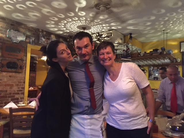 Our waiter was a good sport with three slightly tipsy women at our table.