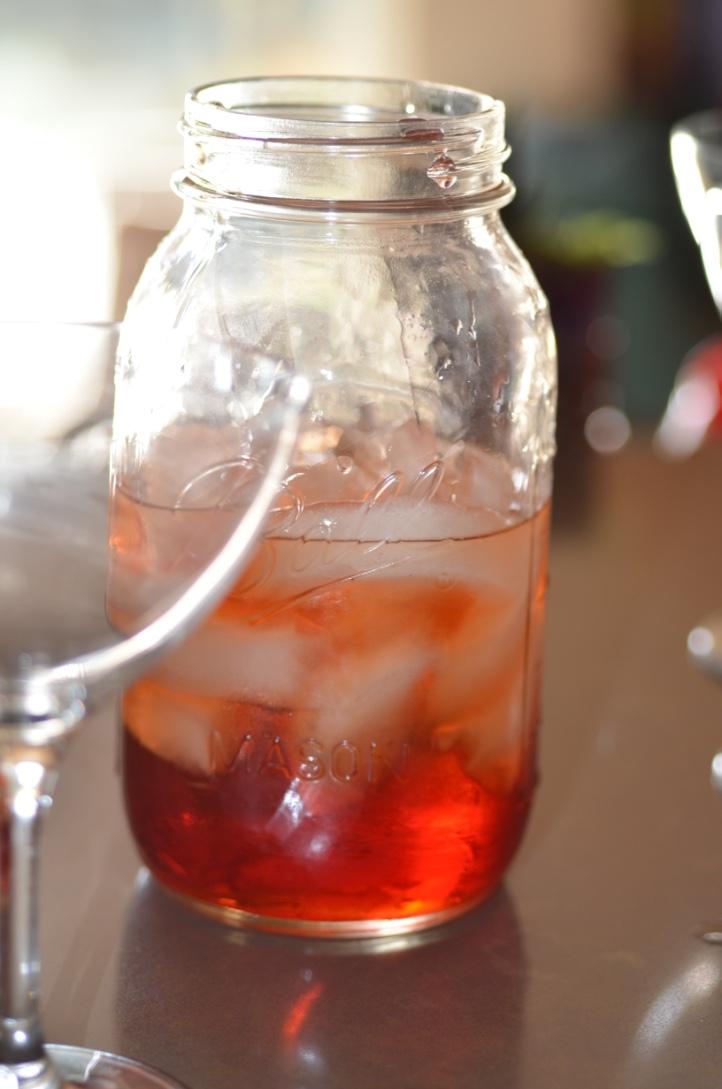 Jar of tasty liquid.