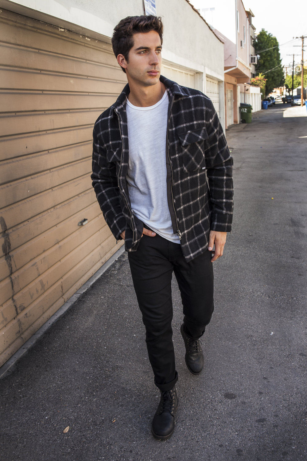 I was - able to rock that for a bit before I had to give in and lose a layer. After removing the hoodie, I stuck with the Zanerobe plaid and paired it with a Rag &Bone classic white tee.