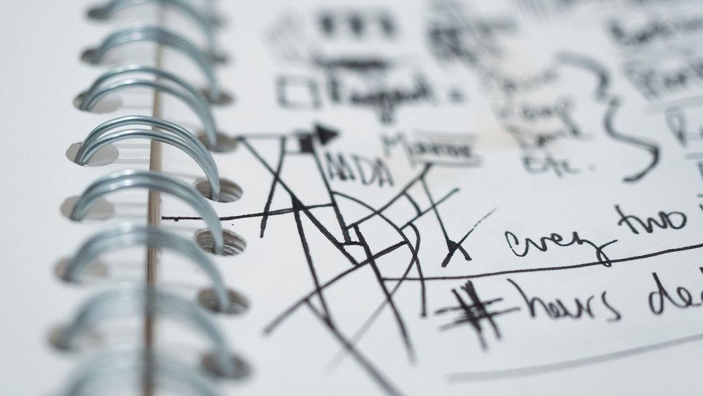 Doodles in notebook