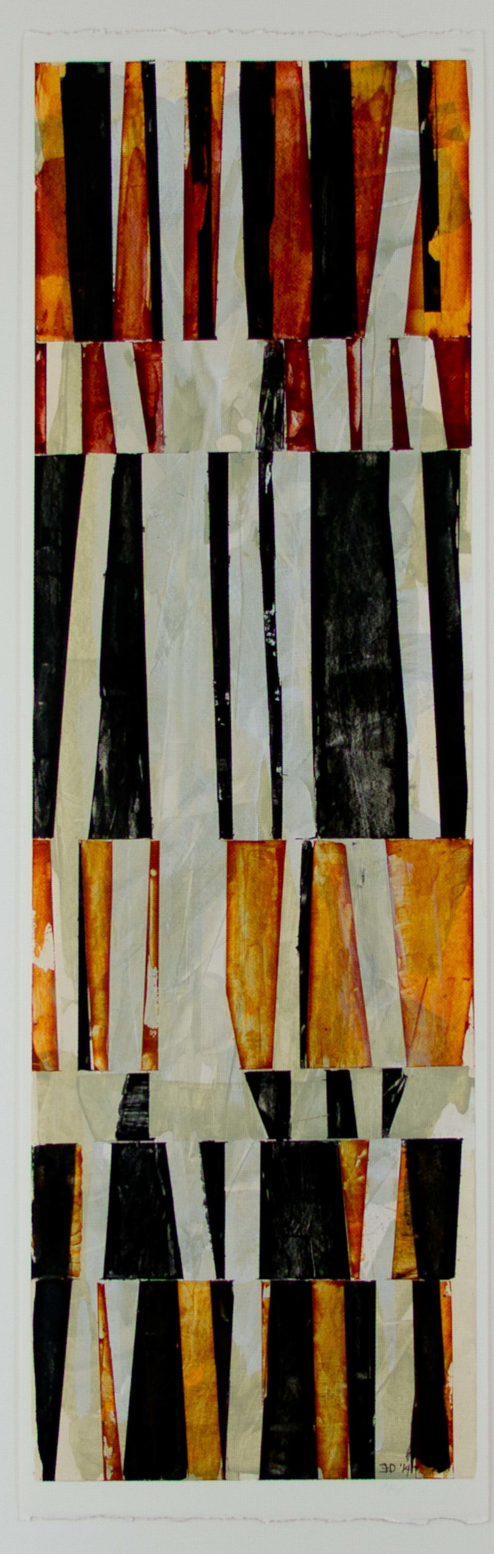 "Between the Lines #1   acrylic on paper, matted and framed, 16 3/8"" x 32""  $400"