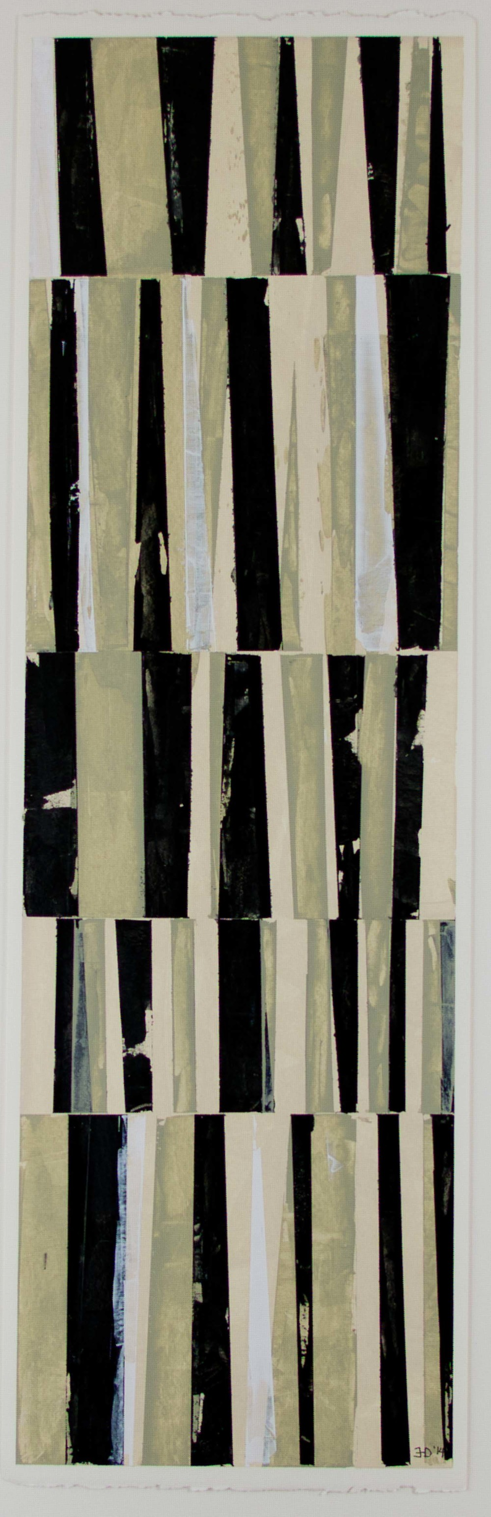 "Between the Lines #2   acrylic on paper, matted and framed, 16 3/8"" x 32""  $400"