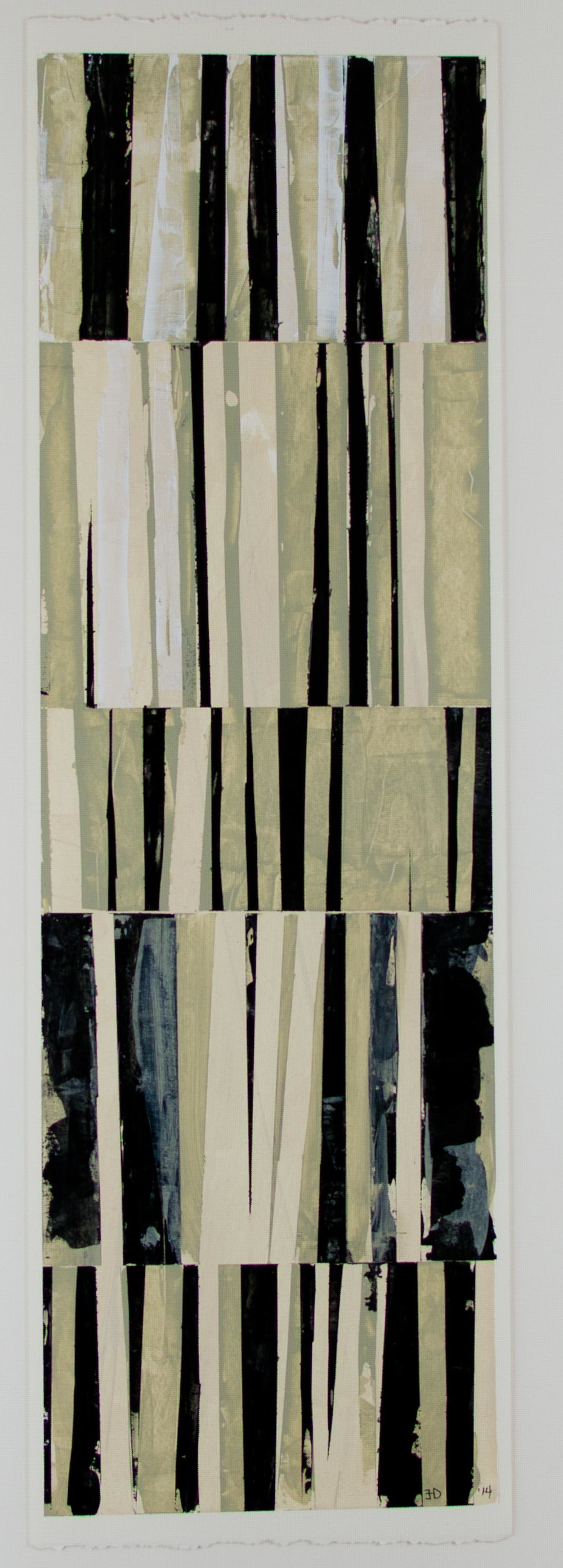 "Between the Lines #3   acrylic on paper, matted and framed, 16 3/8"" x 32""  $400"