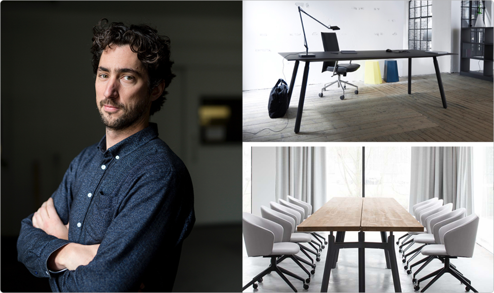 Jorre van Ast, with the Nomad Table and Trestle Table, both his own design.