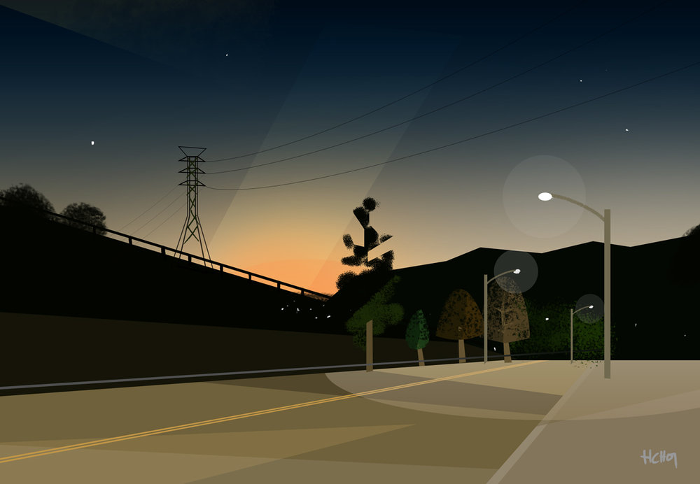 Some concept art around the San Fernando Valley in Los Angeles.