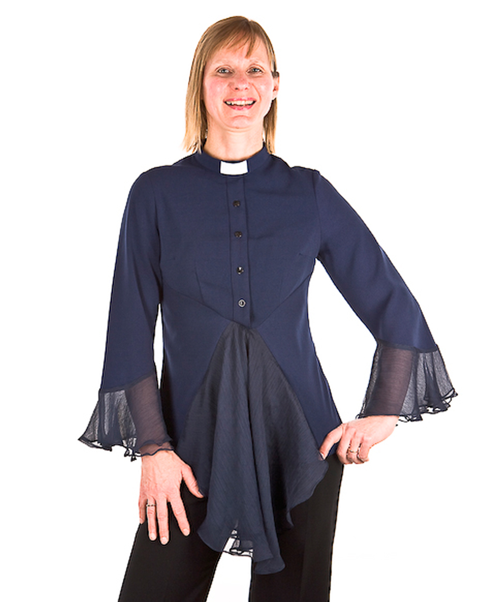 Esther-Clergy-Blouse-Navy-Model