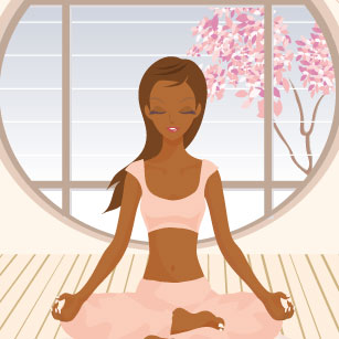 Animated because no one has ever actually seen a black woman do yoga in real life before.