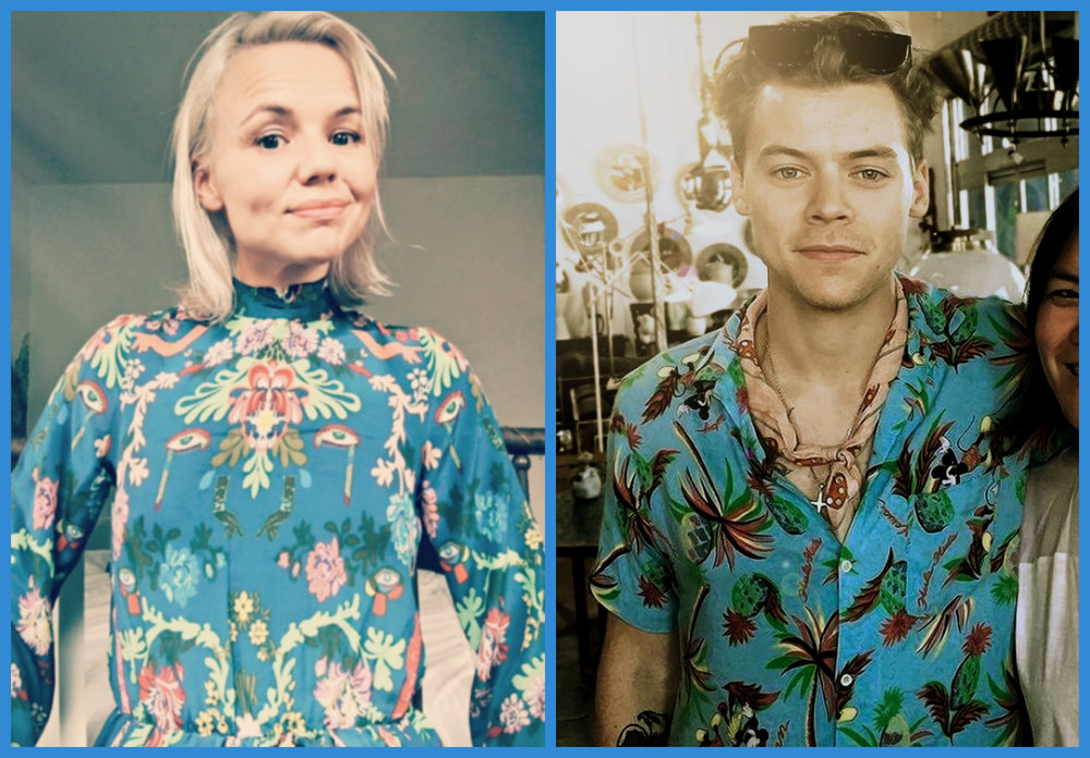 Alana Massey Harry Styles Blue Patterned Silk.jpg
