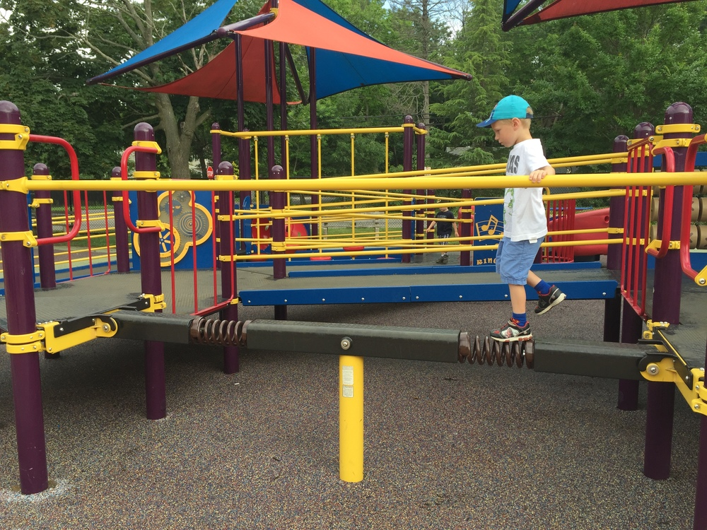 Balance beam at Pine Acres Playground
