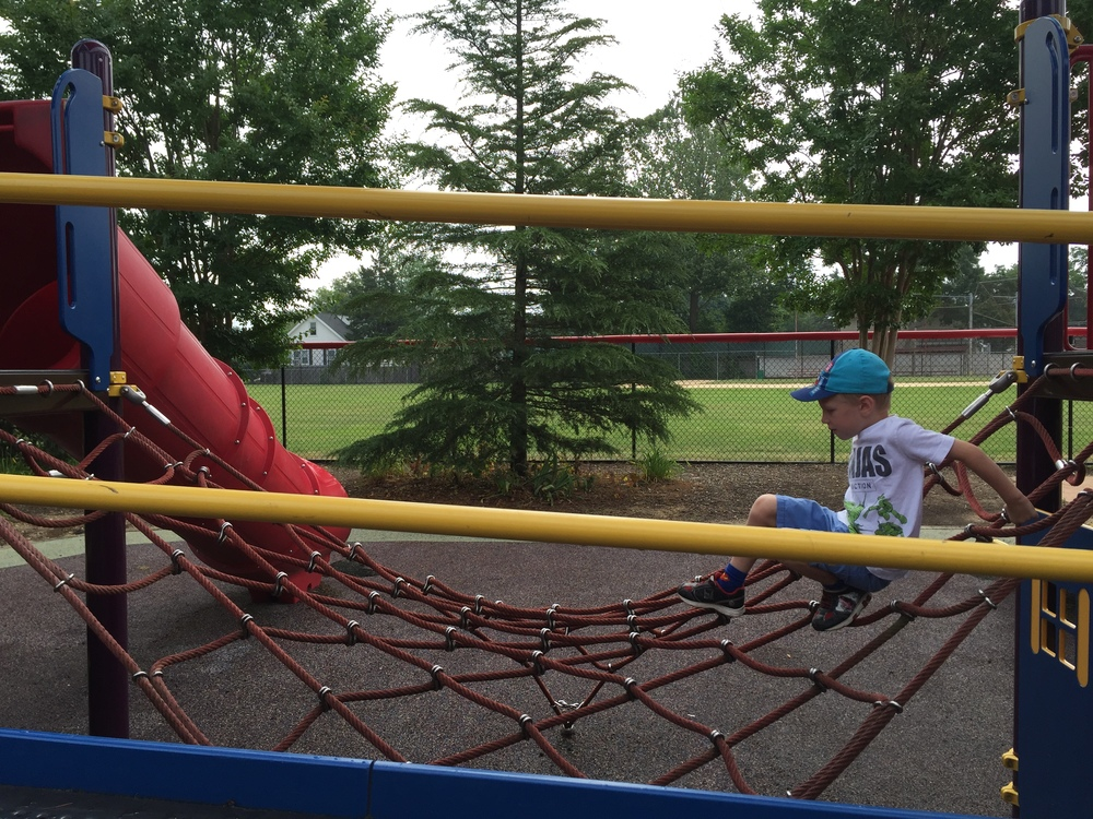 Rope climb at Pine Acres Playground