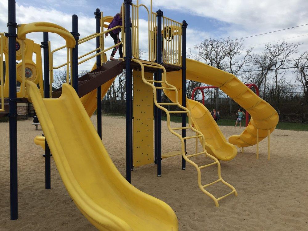 Slides at East Islip Marina Park Playground