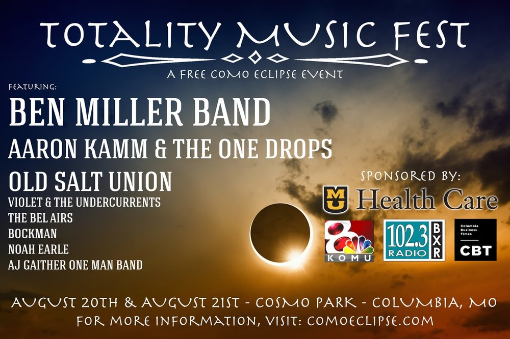 Totality Music Fest - When: August 20th & 21stWhere: Cosmo parkFree Event!Live Music, Beer Garden, Bicycle Stunt Show