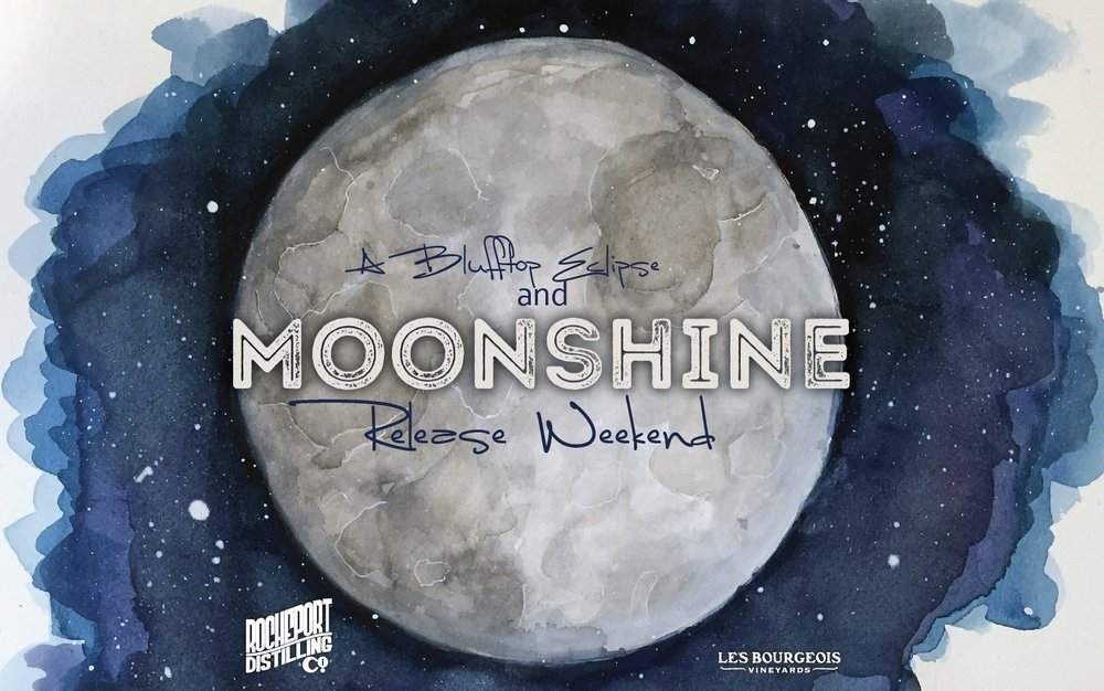 A Blufftop Eclipse & Moonshine Release - When: August 19th - August 21stWhere: Les Bourgeois A-FrameEnjoy a weekend long event to celebrate the eclipse! A new moonshine, cocktail samples, live music, and extended menu options at the A-Frame.