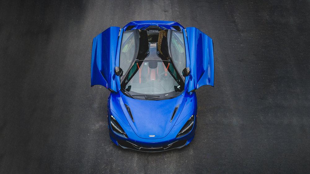 blue McLaren 720s front automotive photography Brian Laiche