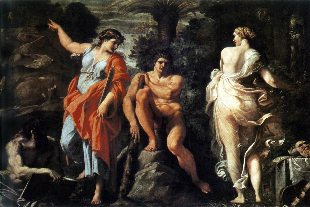 The Choice of Hercules by Annibale Carraci — Hercules is offered a choice between a pleasant and easy life or a severe but glorious life: he chose the latter. Strong Greek boy!