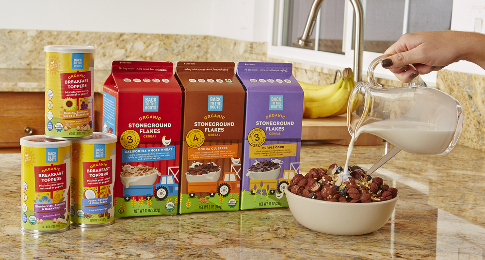 Back to the Roots Stoneground Flakes cereal – the company's newest product line.