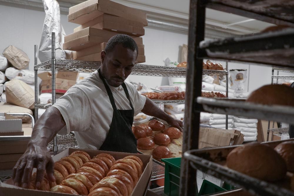 Marshawn Howard in the Firebrand Artisan Breads bakery.