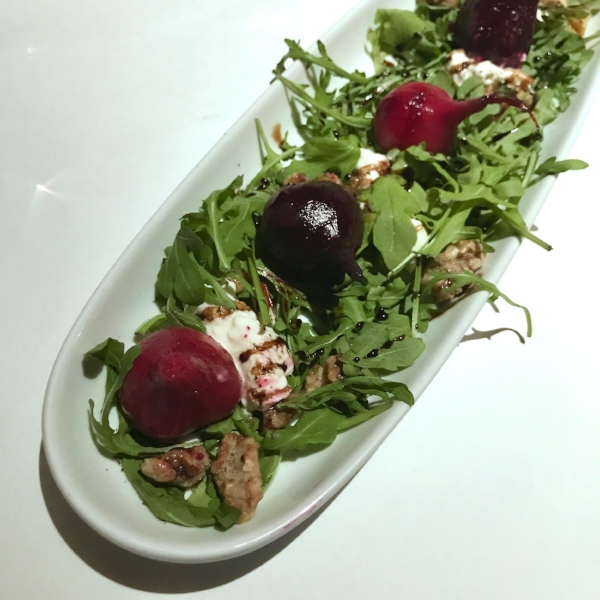 Beet Salad: endive, burrata, candied walnut w/ Whispering Angel Rose