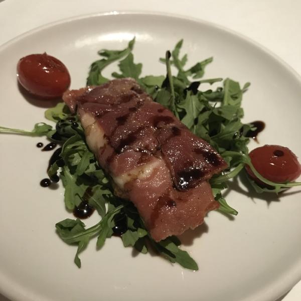 Fresh Mozzerella Rollata: prosciutto, arugula, balsamic glaze w/ Blindfold Chardonnay