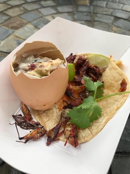balut, grasshopper taco