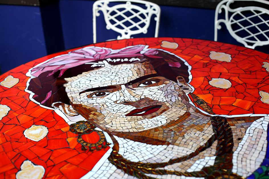 Mosaic tables made by Gina del Campo